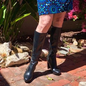 Classic Black Nine West Slim Calf Boots
